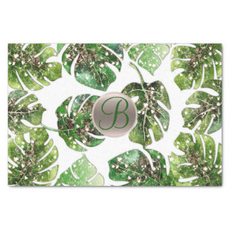 Tropical Leaves Gold Glitter Chic Monogram Initial Tissue Paper