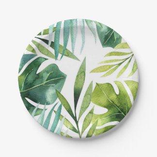 Tropical Leaves Hawaiian Summer Party Wedding Paper Plate