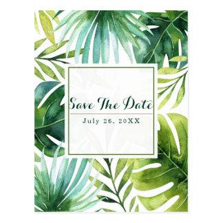 Tropical Leaves Hawaiian Wedding Save the Date Postcard