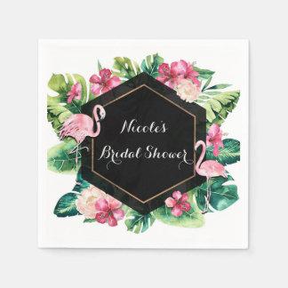 Tropical Leaves Hibiscus Flamingos Elegant Party Paper Serviettes