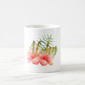 Tropical Leaves Hibiscus Floral Watercolor Aloha Coffee Mug