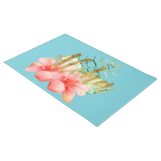 Tropical Leaves Hibiscus Floral Watercolor Aloha Doormat