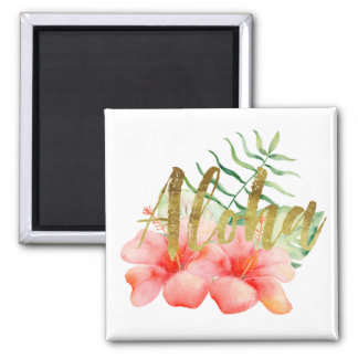 Tropical Leaves Hibiscus Floral Watercolor Aloha Square Magnet