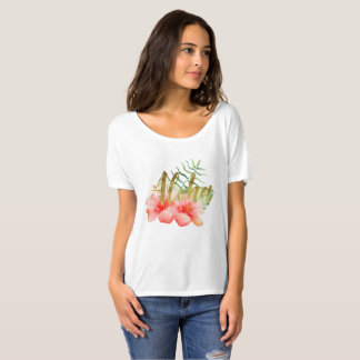 Tropical Leaves Hibiscus Floral Watercolor Aloha T-Shirt