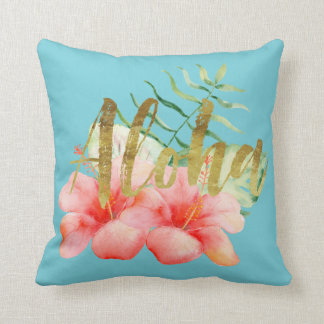 Tropical Leaves Hibiscus Floral Watercolor Aloha Throw Pillow