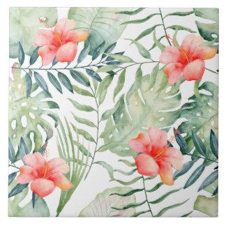 Tropical Leaves Hibiscus Floral Watercolor Ceramic Tile