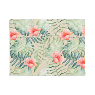 Tropical Leaves Hibiscus Floral Watercolor Doormat