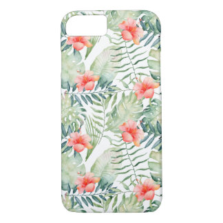 Tropical Leaves Hibiscus Floral Watercolor iPhone 8/7 Case