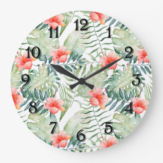 Tropical Leaves Hibiscus Floral Watercolor Large Clock