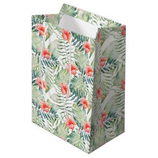 Tropical Leaves Hibiscus Floral Watercolor Medium Gift Bag