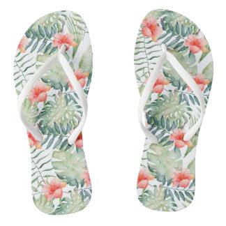 Tropical Leaves Hibiscus Floral Watercolor Thongs