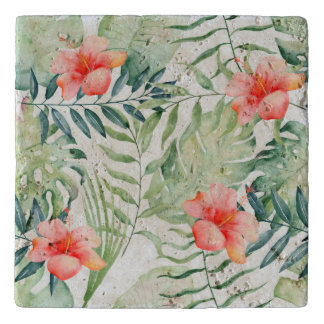 Tropical Leaves Hibiscus Floral Watercolor Trivet
