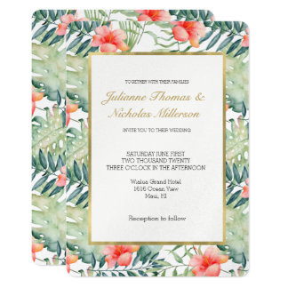 Tropical Leaves Hibiscus Floral Watercolor Wedding Card
