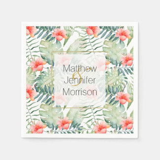Tropical Leaves Hibiscus Floral Watercolor Wedding Paper Napkins