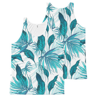 Tropical Leaves in Teal All-Over Print Singlet