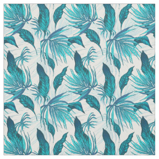 Tropical Leaves in Teal Fabric