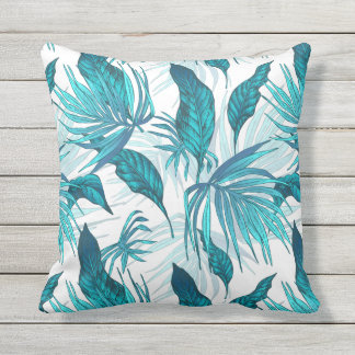 Tropical Leaves in Teal Outdoor Cushion