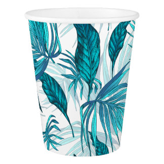 Tropical Leaves in Teal Paper Cup