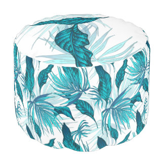 Tropical Leaves in Teal Pouf