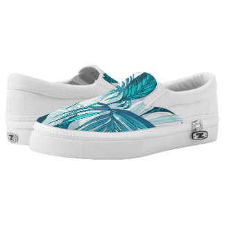 Tropical Leaves in Teal Printed Shoes