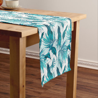 Tropical Leaves in Teal Short Table Runner
