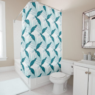 Tropical Leaves in Teal Shower Curtain