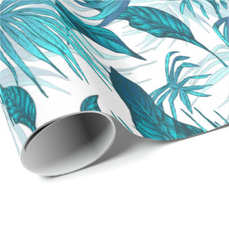 Tropical Leaves in Teal Wrapping Paper