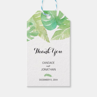 Tropical Leaves in Watercolor Gift Tags