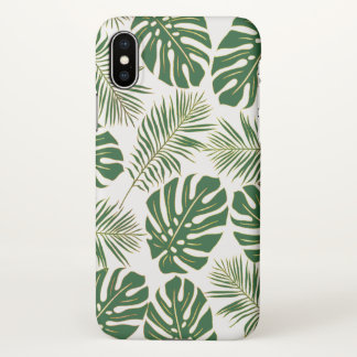 Tropical leaves modern green gold iPhone x case