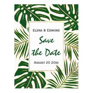 Tropical leaves modern green wedding Save the Date Postcard