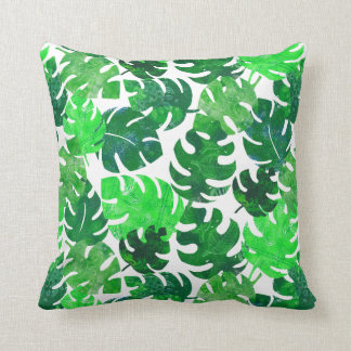 Tropical leaves - monstera - botanical lush green cushion