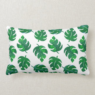 Tropical leaves - monstera - botanical lush green lumbar cushion