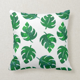 Tropical leaves - monstera - lush green cushion