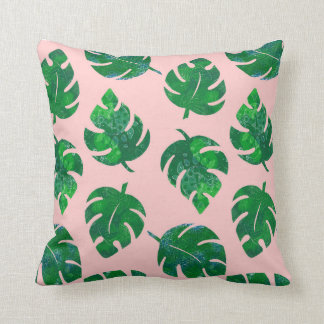 Tropical leaves - monstera - pink background cushion