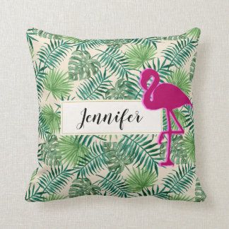 Tropical Leaves Pattern and Pink Flamingo Custom Cushion