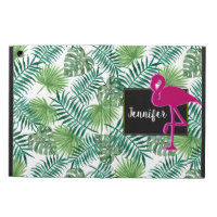 Tropical Leaves Pattern and Pink Flamingo