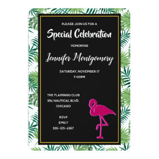 Tropical Leaves Pattern and Pink Flamingo Party Card