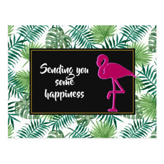 Tropical Leaves Pattern and Pink Flamingo Postcard