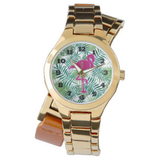 Tropical Leaves Pattern and Pink Flamingo Watch