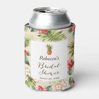 Tropical Leaves Pineapple Bridal Shower Favor Can Cooler