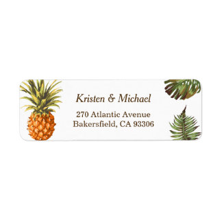 Tropical Leaves Pineapple Decor Luau Wedding Return Address Label