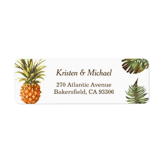 Tropical Leaves Pineapple Decor Luau Wedding Return Address Label