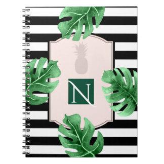 Tropical Leaves & Pineapple Elegant Chic Monogram Notebook