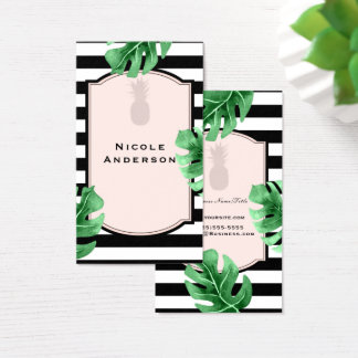 Tropical Leaves & Pineapple Elegant Modern Striped Business Card