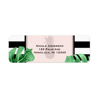 Tropical Leaves & Pineapple Elegant Wedding Return Address Label