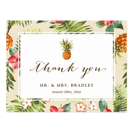 Tropical Leaves Pineapple Hand Script Thank You Postcard