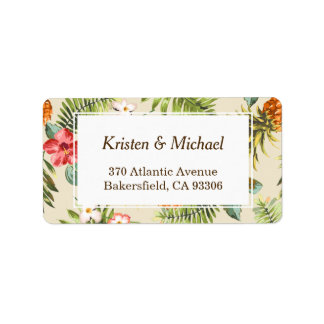 Tropical Leaves Pineapple Hawaiian Luau Theme Label