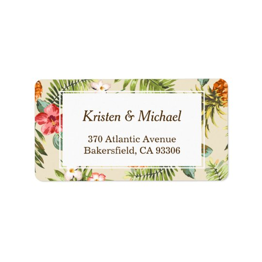 Tropical Leaves Pineapple Hawaiian Luau Theme Label