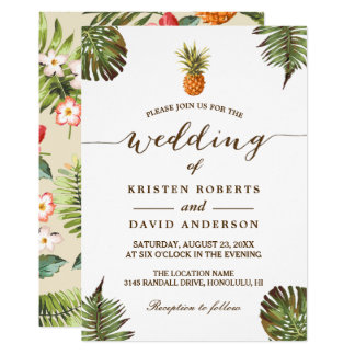Tropical Leaves Pineapple Hawaiian Luau Wedding Card