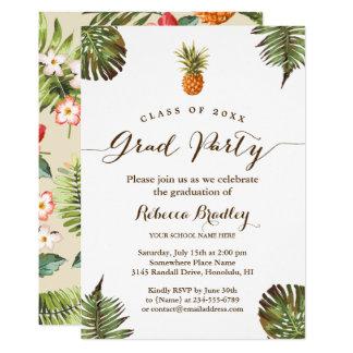 Tropical Leaves Pineapple Luau Graduation Party Card